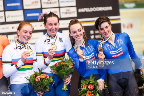 Gold medallists Great Britain's Emily Nelson and Katie Archibald and bronze medallists Italy's Letizia Paternoster and Maria Giulia Confalonieri pose...