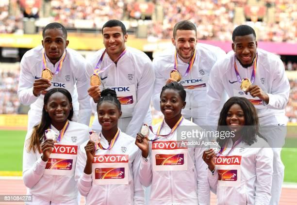 Gold medallists in the Men's 4x100 Britain's Chijindu Ujah Adam Gemili Daniel Talbot and Nethaneel MitchellBlake and Britain's 4x100 Silver...
