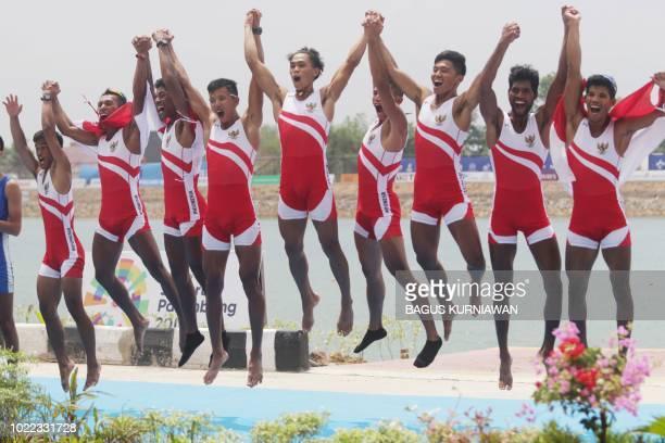 Gold medallists Indonesias Ujang Hasbulloh Ardi Isadi Ihram Ihram Jefri Ardianto Ali Buton Ferdiansyah Ferdiansyah Rio Rizki Darmawan Muhad Yakin and...