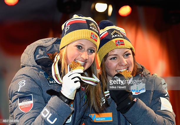 Gold medallists Ingvild Flugstad Oestberg and Maiken Caspersen Falla of Norway pose during the medal ceremony for the Women's CrossCountry Team...