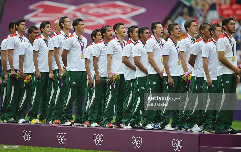 Gold medallists Mexico celebrate during the medal ceremony for the Men's Football Final between Brazil and Mexico on Day 15 of the London 2012 Olympic Games at Wembley Stadium on August 11, 2012 in London, England.