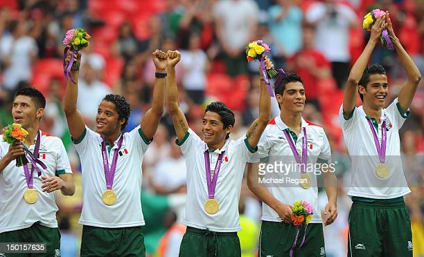Gold medallists Mexico celebrate during the medal ceremony for the Men's Football Final between Brazil and Mexico on Day 15 of the London 2012...