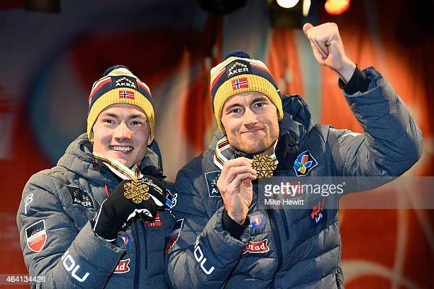 Gold medallists Petter Jr Northug of Norway and Finn Haagen Krogh pose during the medal ceremony for the Men's CrossCountry Team Sprint Final during...