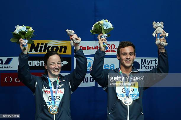 Gold medallists Rebecca Gallantree and Tom Daley of Great Britain pose during the medal ceremony for the 3m Springboard/10m Platform Team Diving...