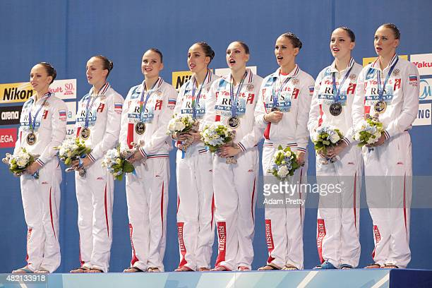 Gold medallists Russia stand on the podium during the medal ceremony for the Women's Team Technical Synchronised Swimming Final on day three of the...
