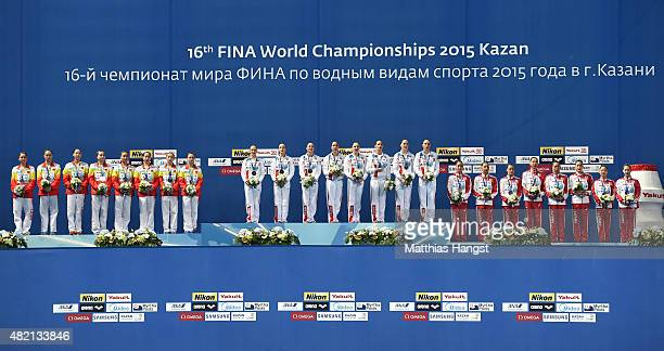 Gold medallists Russia stand on the podium with silver medallists China and bronze medallists Japan during the medal ceremony for the Women's Team...