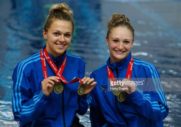 Gold medallists Tonia Couch and Sarah Barrow pose with their medals after winning the Women's 10m Synchro competition on day 1 of the British Gas...