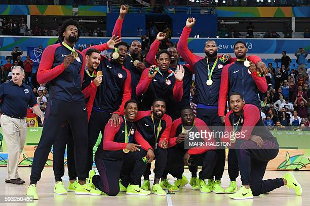 Gold medallists USA's forward Jimmy Butler USA's guard Kevin Durant USA's centre DeAndre Jordan USA's guard Kyle Lowry USA's forward Harrison Barnes...