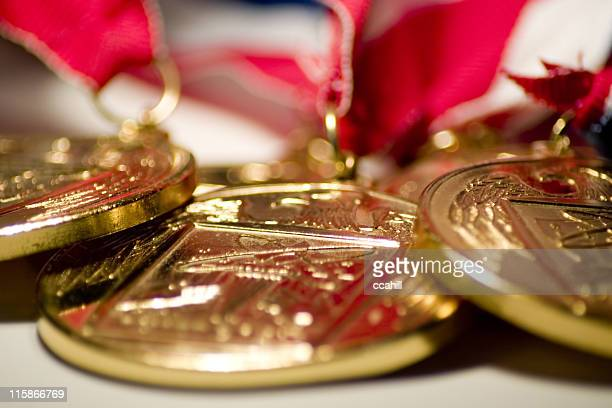 gold medals - medallion stock photos and pictures