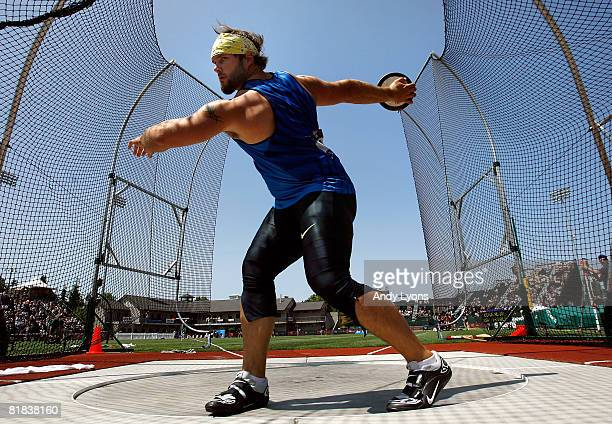 Gold medlaist Ian Waltz competes in the men's discus throw final during day eight of the US Track and Field Olympic Trials at Hayward Field on July 6...