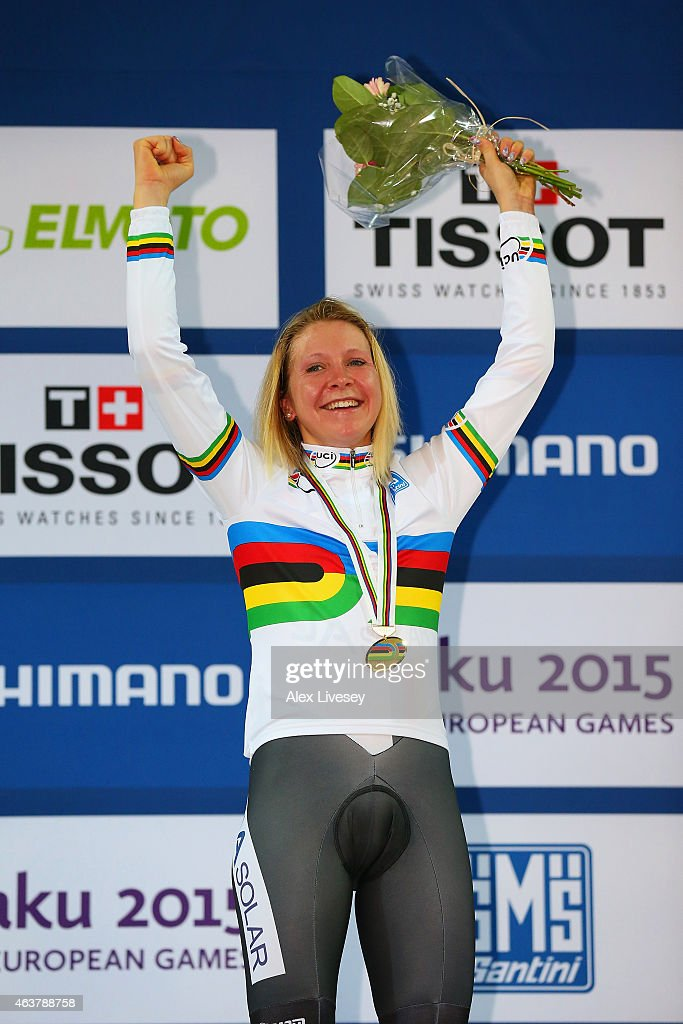 Gold medliast Stephanie Pohl of Germany poses on the podium during the medal ceremony for the Women's Points Race Final during day one of the UCI Track Cycling World Championships at the National Velodrome on February 18, 2015 in Paris, France.