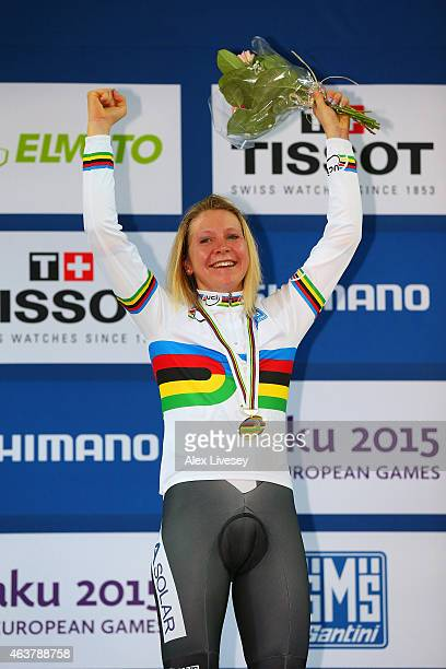 Gold medliast Stephanie Pohl of Germany poses on the podium during the medal ceremony for the Women's Points Race Final during day one of the UCI...