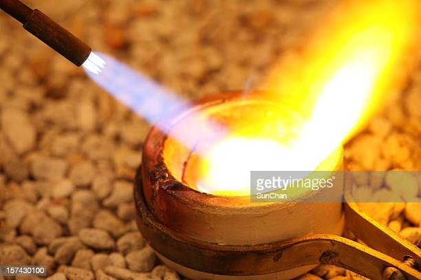 Gold melting in a crucible