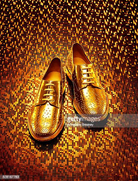 Gold Men's Oxfords on Gold Background