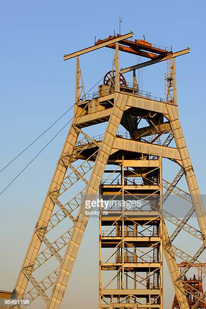gold mine head gear - mine elevator stock pictures, royalty-free photos & images
