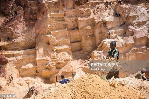 Gold miners in Ndassima gold mine 40 Km of Bambari in Seleka group controlled zone in the Eastern part of CAR Independent gold panners run the mine...