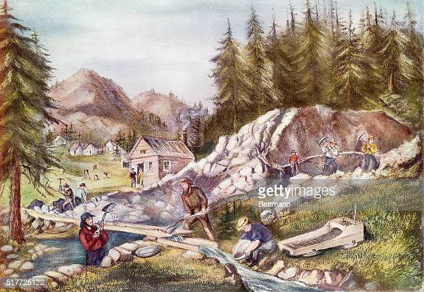 Gold mining in California Currier Ives Print 1871 Hand colored lithograph