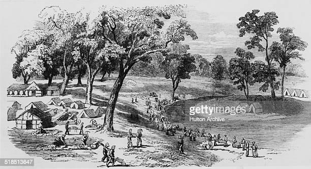 Gold mining operations at Ballarat during the Australian gold rush Victoria Australia 1852