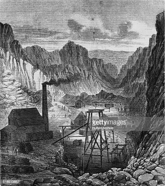 Gold mining operations at Black Hill Ballarat during the Australian gold rush Victoria Australia circa 1855