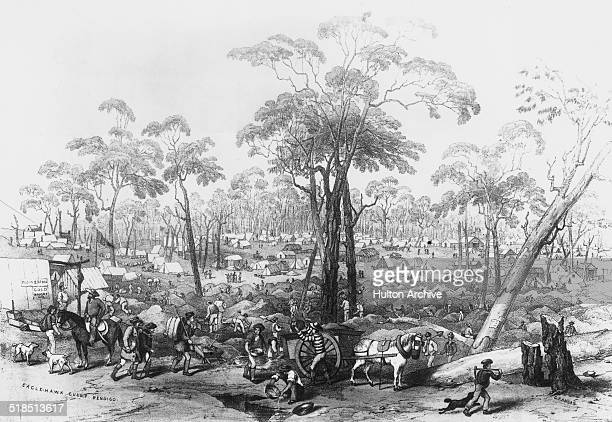Gold mining operations at Eagle Hawk Gully near Bendigo during the Australian gold rush Victoria Australia circa 1853