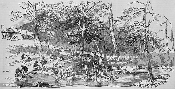 Gold mining operations at the at the confluence of Summer Hill Creek and Lewis Ponds Creek in Ophir New South Wales Australia 1851 The discovery of...