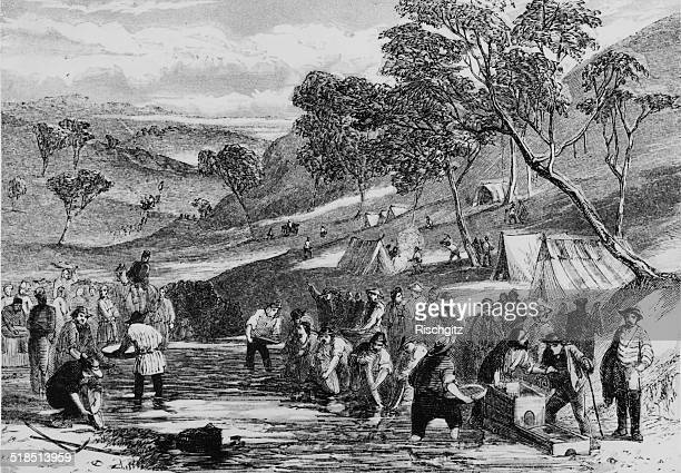 Gold mining operations on the Mount Alexander Goldfield near Port Phillip during the Australian gold rush Victoria Australia circa 1855