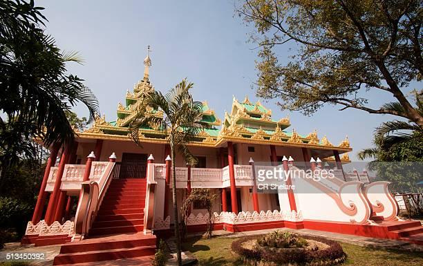 gold monastery in lumbini, nepal - lumbini nepal stock pictures, royalty-free photos & images