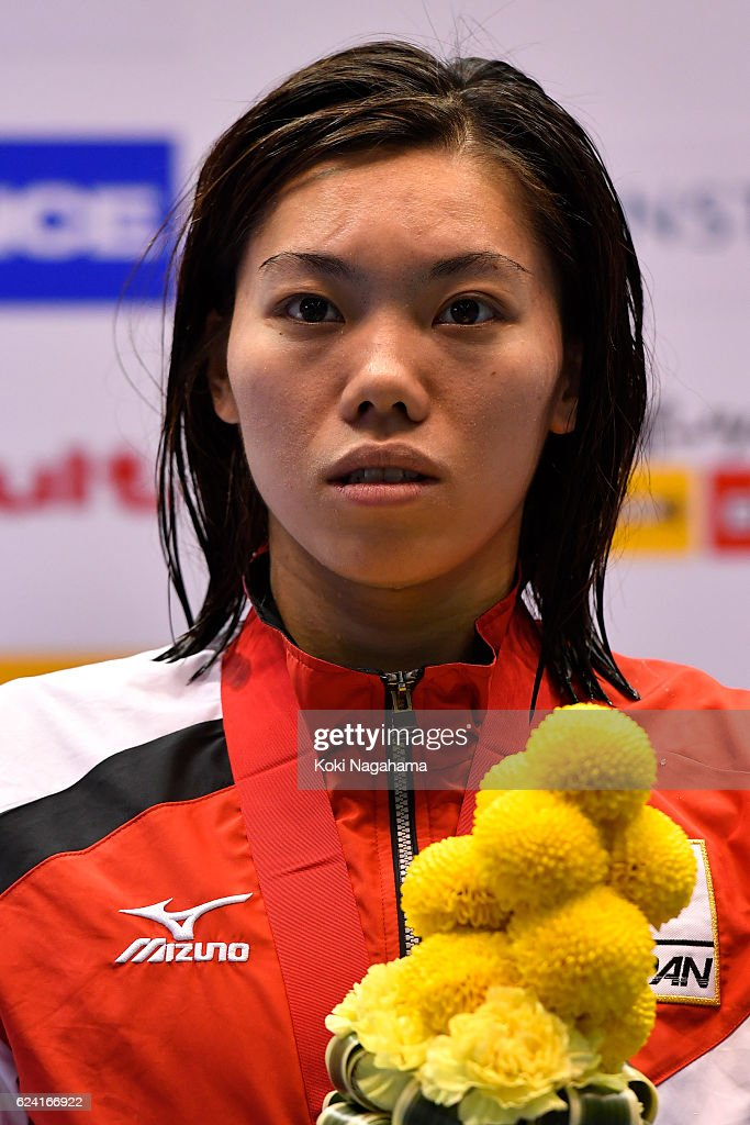 Gold nedalist Reona Aoki of Japan looks on after Women's 200m Breaststroke final during the 10th Asian Swimming Championships 2016 at the Tokyo Tatsumi International Swimming Center on November 18, 2016 in Tokyo, Japan.