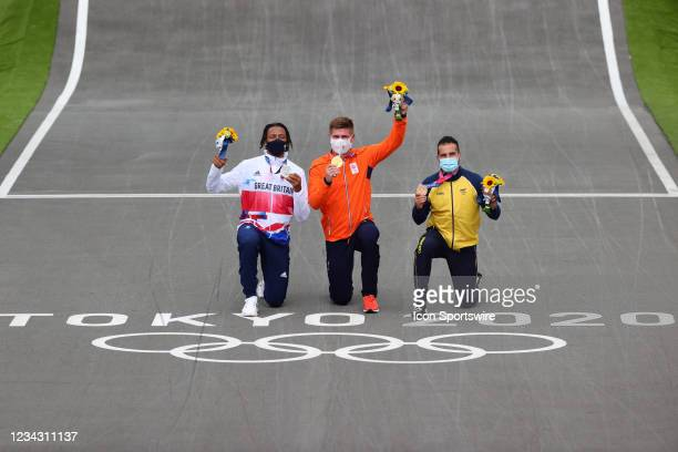 Gold Niek Kimmann of Team Netherlands, Silver Kye Whyte of Team Great Britain and Bronze Carlos Alberto Ramirez Yepes of Team Colombia during the...