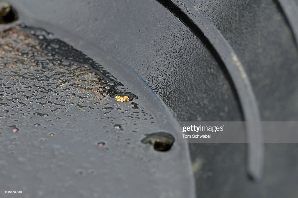 Gold Nugget In Pan Stock Photo