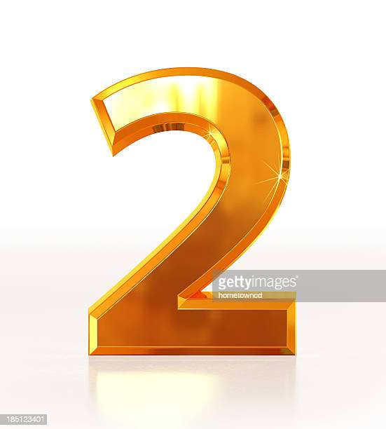 gold number 2 - number 2 stock pictures, royalty-free photos & images