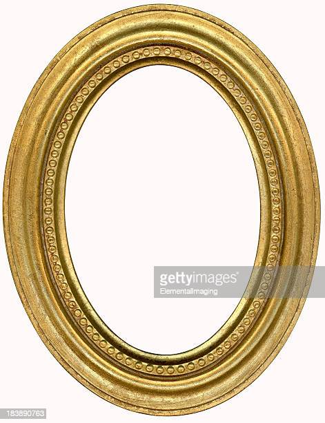 gold oval picture frame. isolated on white with clipping path - oval shaped objects stock pictures, royalty-free photos & images