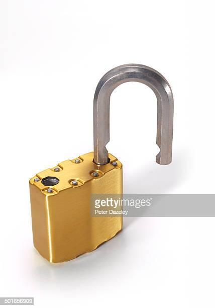 Gold padlock open