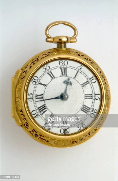 Gold paircased cylinder watch with quarter repeat 1744 In gold case with central whorled rosette sides pierced with two panels of scrolled foliage...