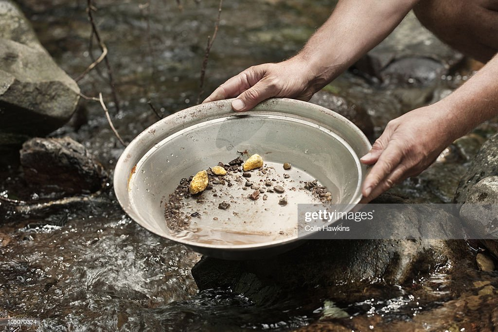 gold panning : Stock Photo