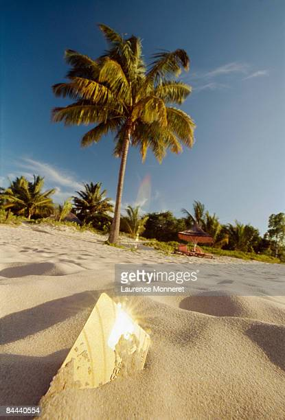 Gold payment card half buried in tropical beach