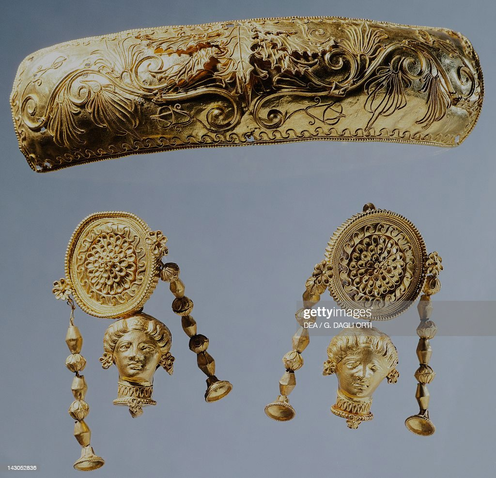 Gold pendant and gold disc earrings pictures getty images gold pendant and gold disc earrings italy goldsmith art greek civilization magna mozeypictures Choice Image
