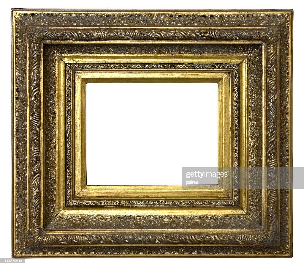 Gold picture frame on white background with path stock photo gold picture frame on white background with path stock photo jeuxipadfo Gallery