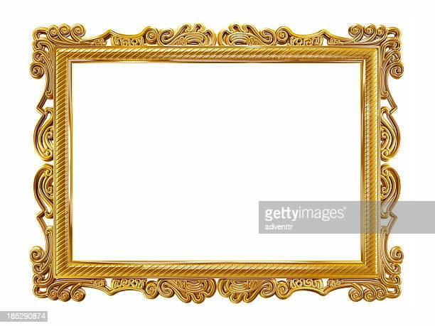 gold picture frame - frame stock pictures, royalty-free photos & images