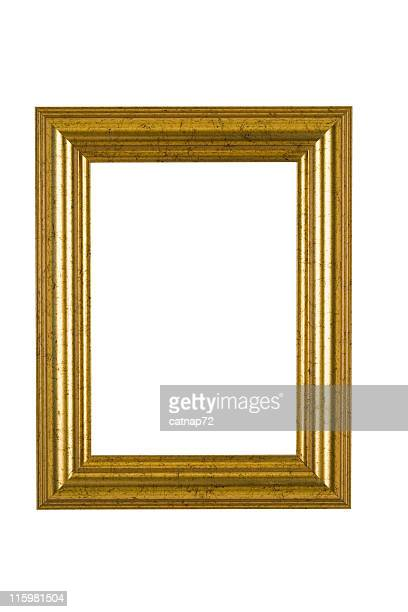 Gold Picture Frame with Flecked Finish, White Isolated
