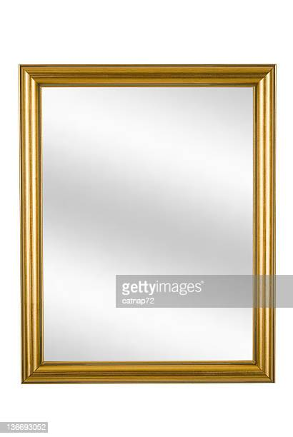 Gold Picture Frame with Mirror, Narrow Modern, White Isolated