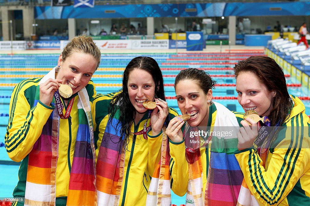 Gold placed medalists Australia pose during the medal ceremony for the Women's 4x100m Freestyle Final at Dr. S.P. Mukherjee Aquatics Complex during day five of the Delhi 2010 Commonwealth Games on October 8, 2010 in Delhi, India.