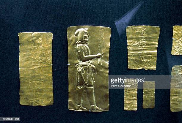 Gold plaques from the Oxus treasure Achaemenid Persian 5th4th century BC Man wearing Median costume he has an akinakes of a type depicted on reliefs...