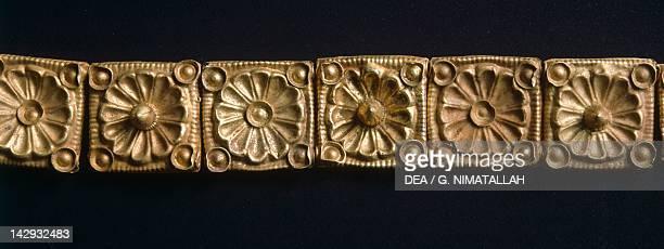 Gold plate links from Veio Etruscan civilization 6th Century BC Rome Museo Nazionale Etrusco Di Villa Giulia