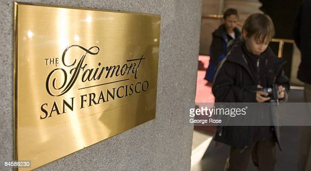 A gold plate sign at the entrance of the luxury Fairmont Hotel on Nob Hill is seen in this 2009 San Francisco California city landscape photo