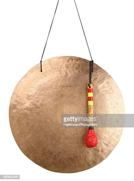 Gold plated Asian gong with red stick