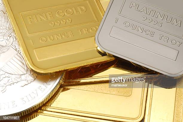 gold, platinum and silver - close-up - silver coloured stock pictures, royalty-free photos & images