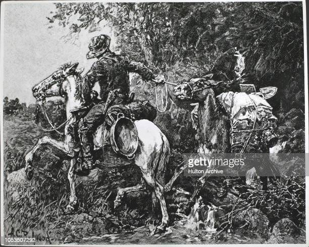 A gold prospector on horseback in California during the Gold Rush 1851 By A C Redwood