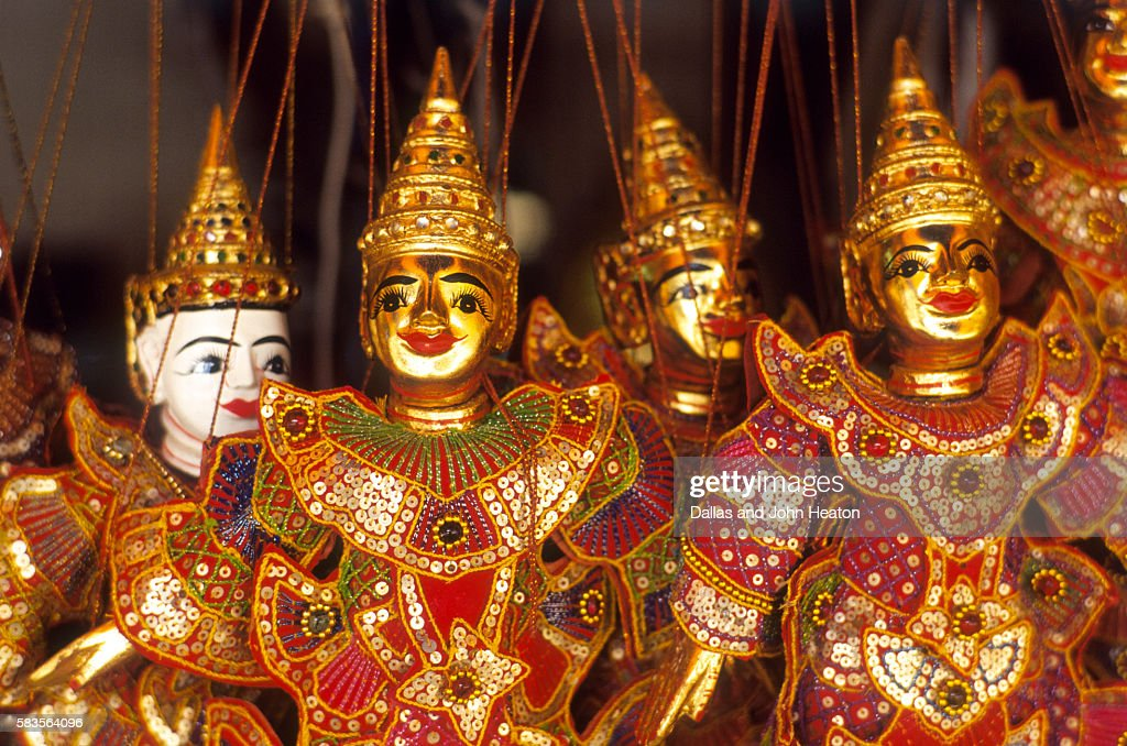 Gold puppets, Chiang Mai Province, Thailand : Stock Photo