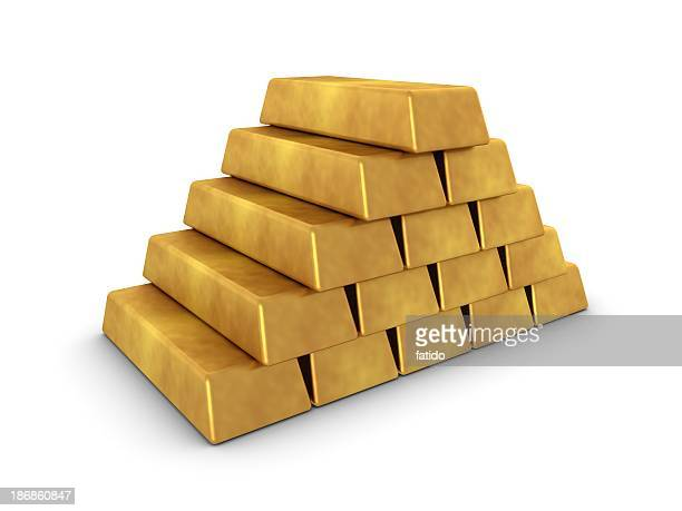 gold pyramid - gold bars stock photos and pictures